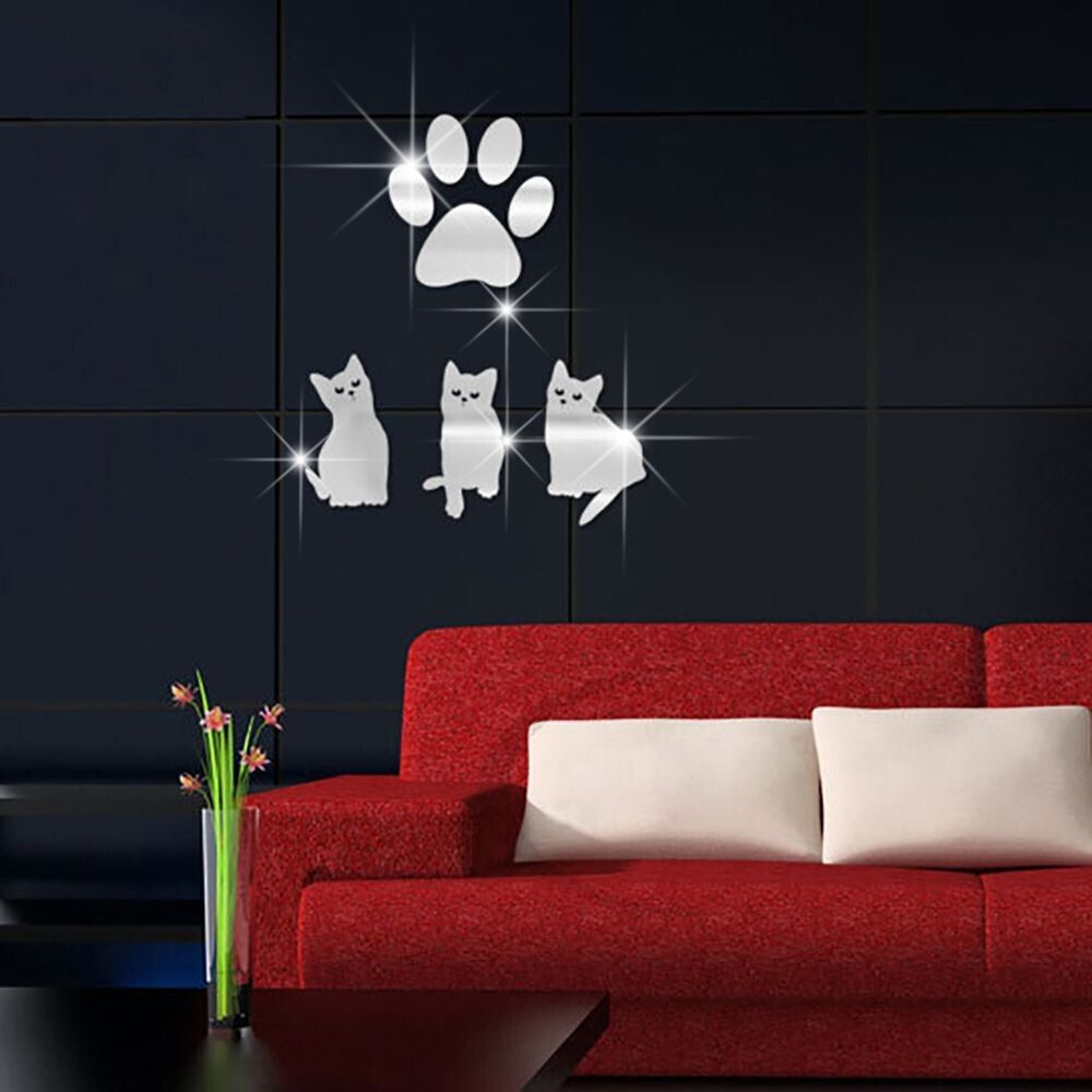 Mirror wall art crystal cat paws wall stickers removable self