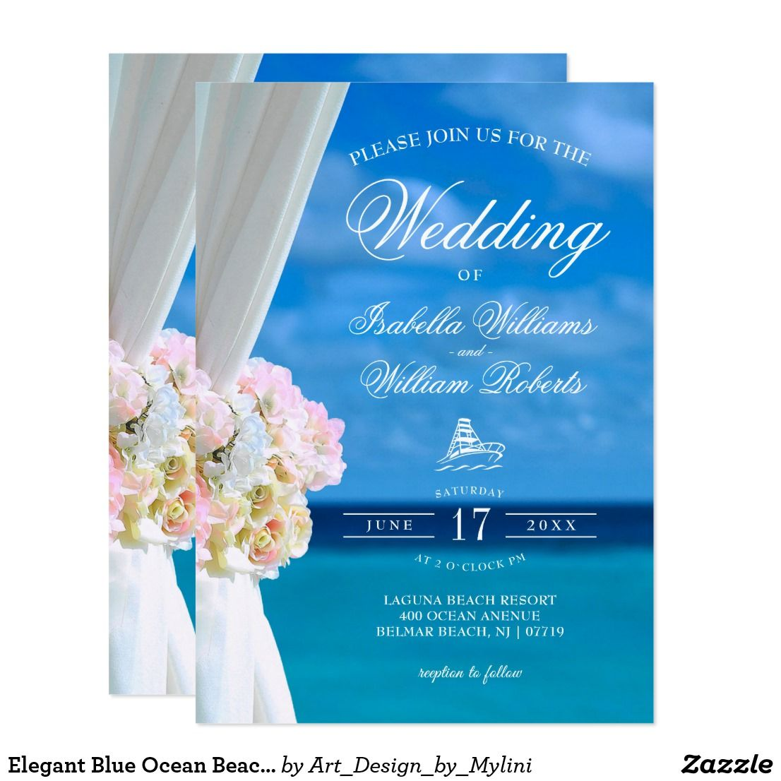 Elegant Blue Ocean Beach Wedding Invitation Beach Wedding