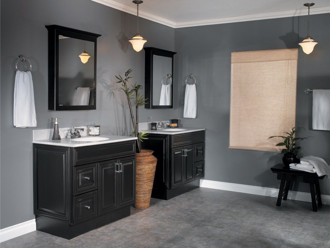 Simple Elegant Dark Gray Master Bathroom Wall Colors Ideas Featuring Black Varnished Two Mahogany Wood Cabinets
