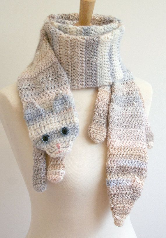 cats PDF Crochet Pattern for Calico Cat Scarf - Animal Pet Warm DIY ...