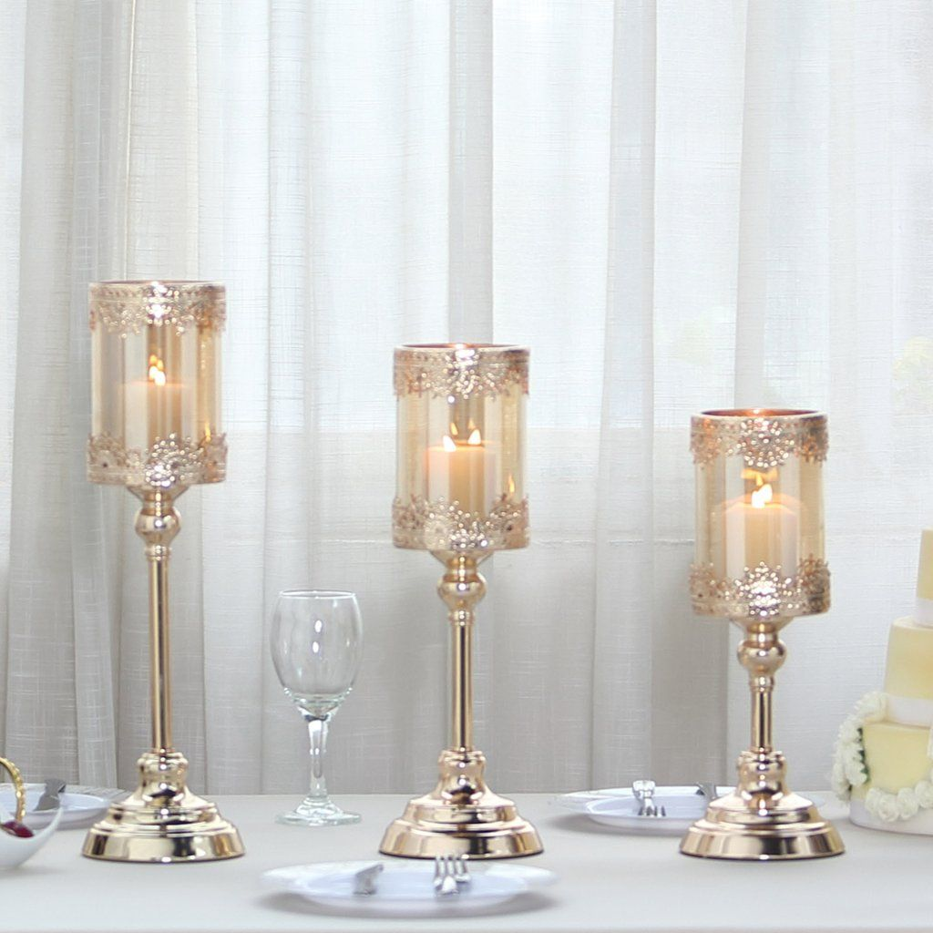 Set Of 3 Lace Design Gold Amber Hurricane Glass Candle Holder Set With Glass Tube 13 15 17 Glass Hurricane Candle Holder Candle Holders Glass Candle Holders