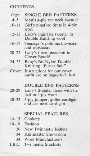Modern Knitting April 1965 - Contents