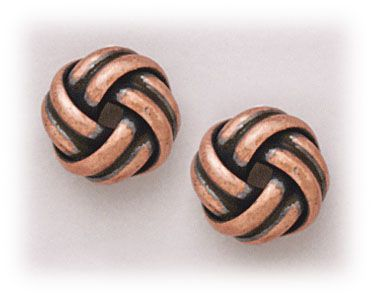 Simply Whispers hypoallergenic and nickel free Jewelry pierced earrings antiqued copper posted large puffy knot