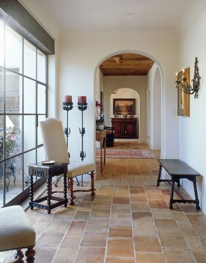 Interior of spanish revival spanish revival rancho for Spanish style floor tiles