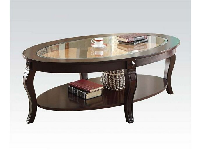 Riley collection walnut finish wood and glass top oval coffee table