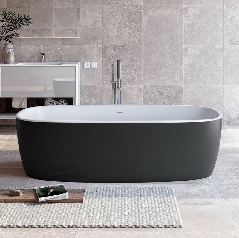 Aquatica Coletta Blck Wht Freestanding Solid Surface Bathtub