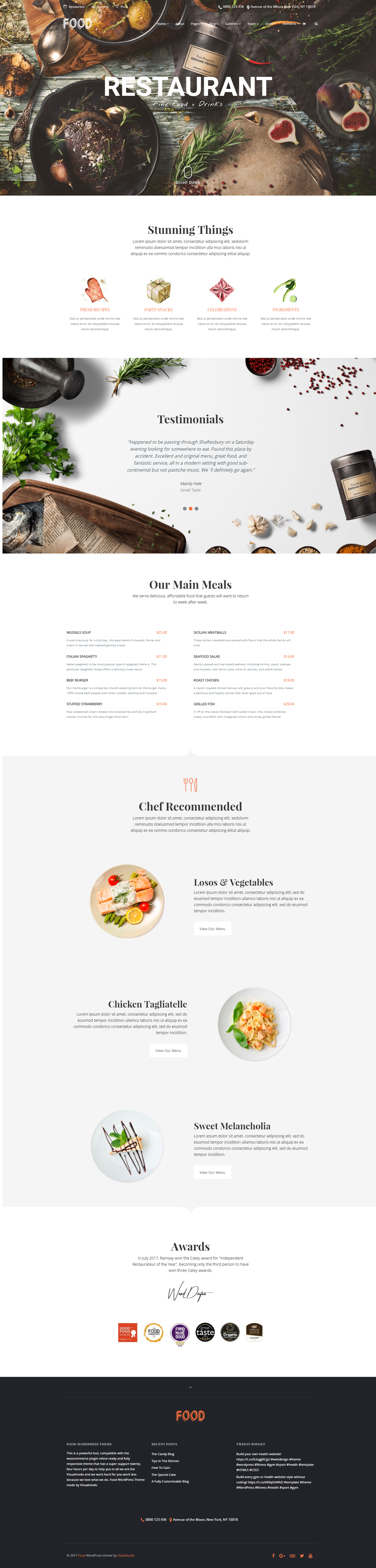 Food WordPress Theme Responsive Restaurant Template by
