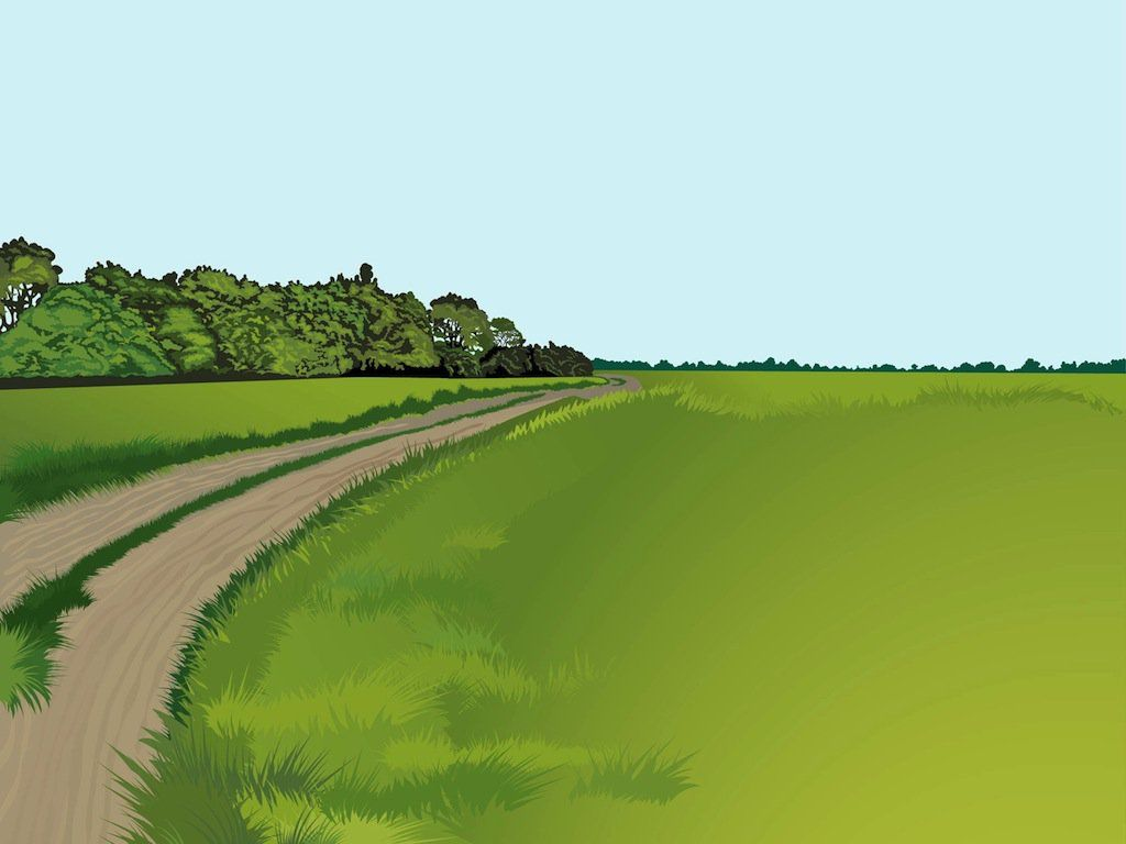 Vector landscape illustration of a small road in the countryside close to a forest. Lush grass on both sides of the road, different kinds of trees and silhouettes of distant forests on the horizon. Free vector landscape for all nature, natural, calm places, countryside, wallpaper and background designs. Landscape Vector by Resourcegraphics.com