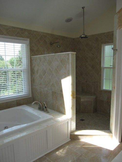 Walk-in shower- water spout in middle is interesting | Bathroom ...