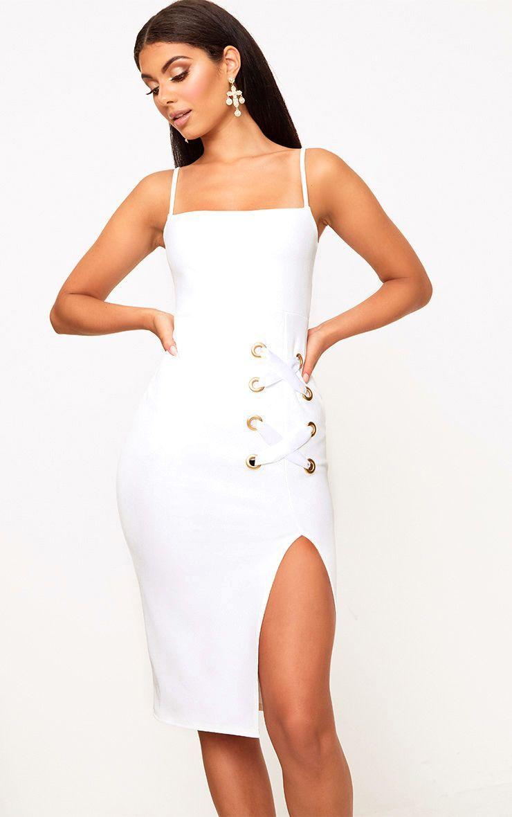 743cfd23393e White Pinstripe Tie Front Strappy Swing Dress