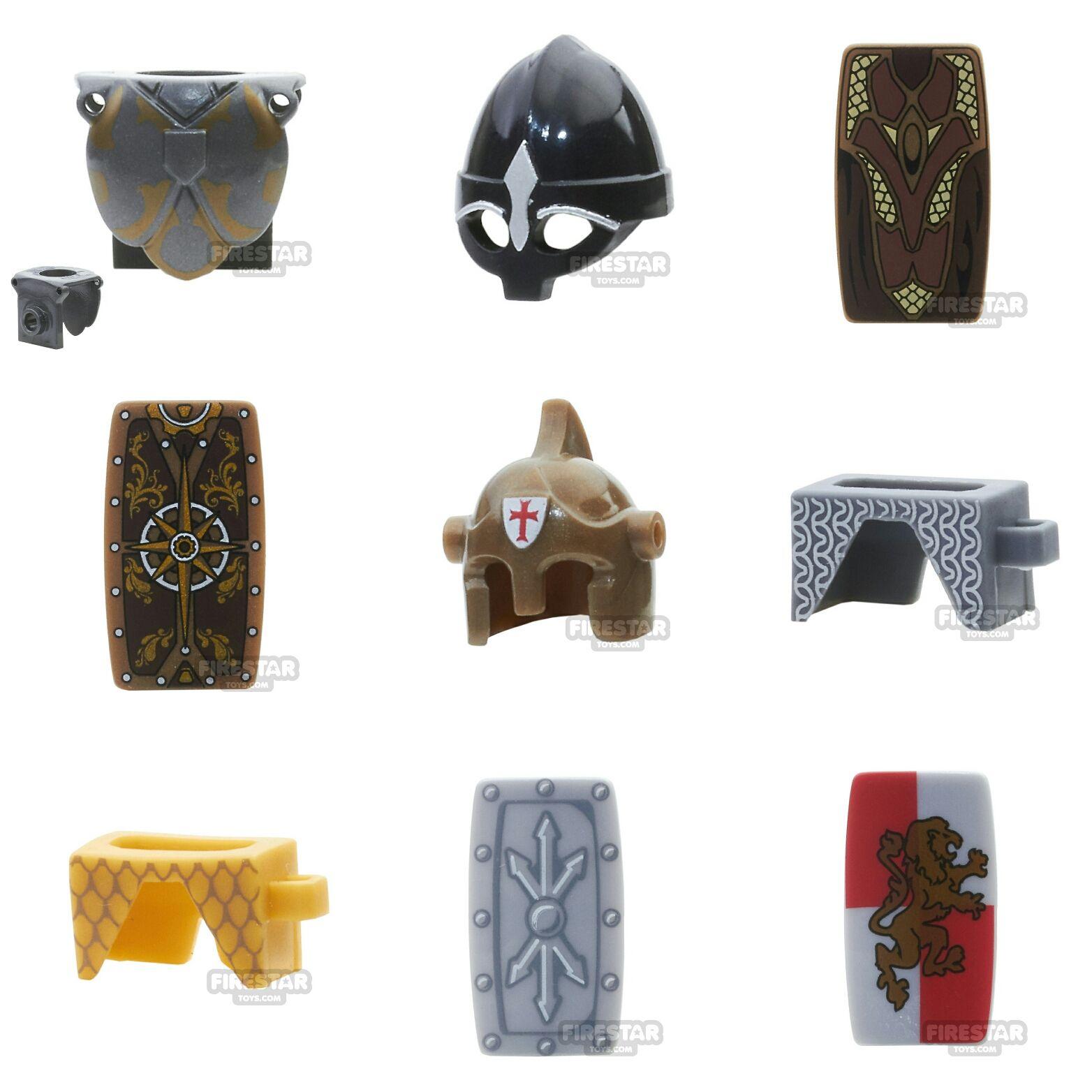 New Brickforge LEGO minifigure armour shields and helmets