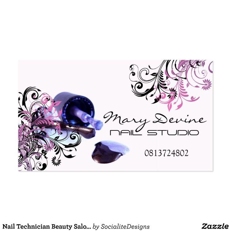 Nail Technician Beauty Salon Business Card | Pinterest | Nail ...