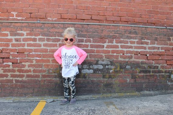 embrace messy hair . Kids baseball tee by greythread on Etsy