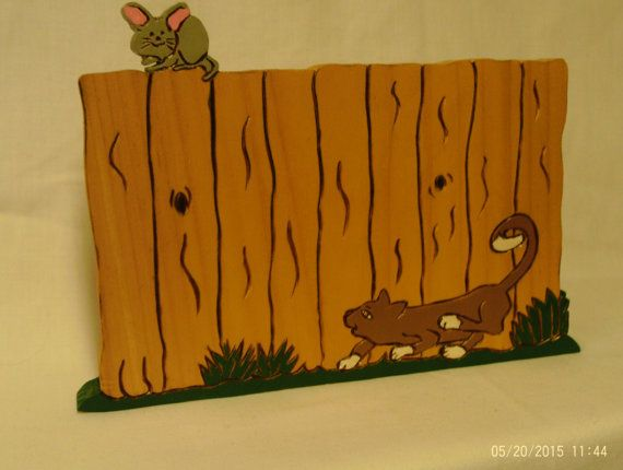 wooden cat and mouse fence plaque  made to by UneekWoodenCrafts