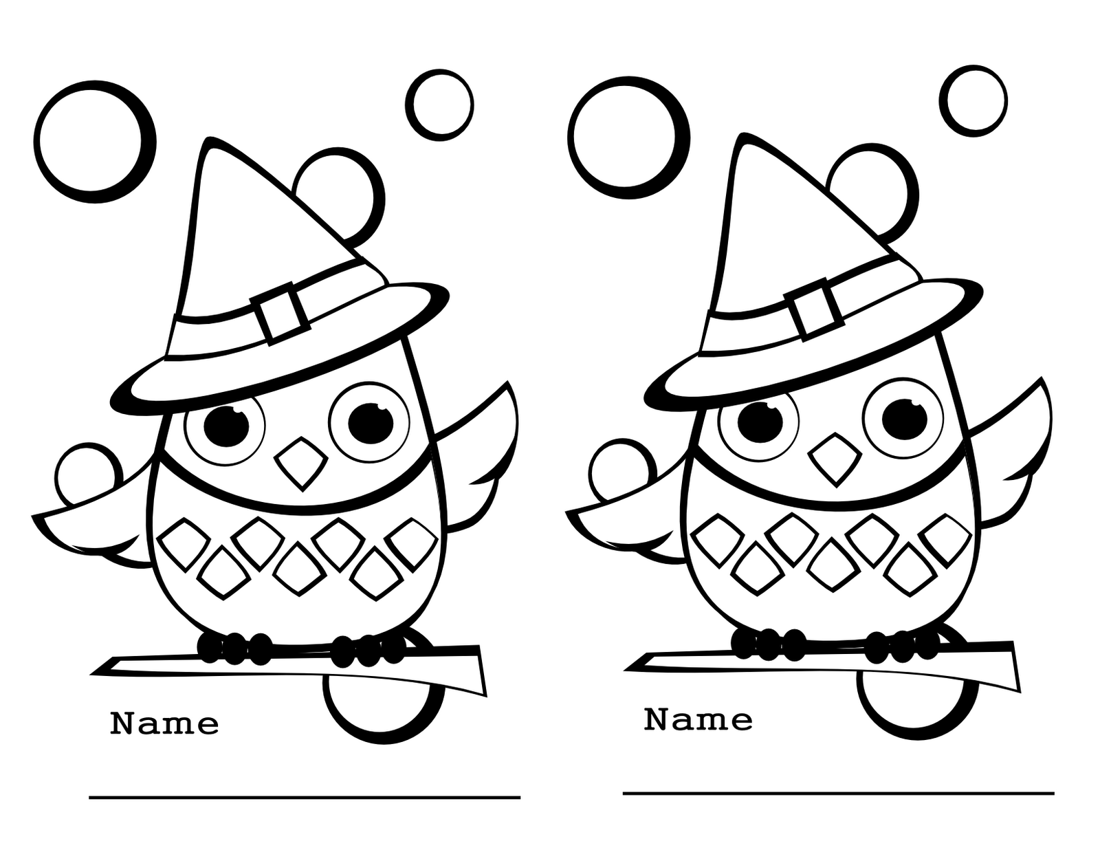 Two Per Page Halloween Owls To Color Great To Hand Out To The