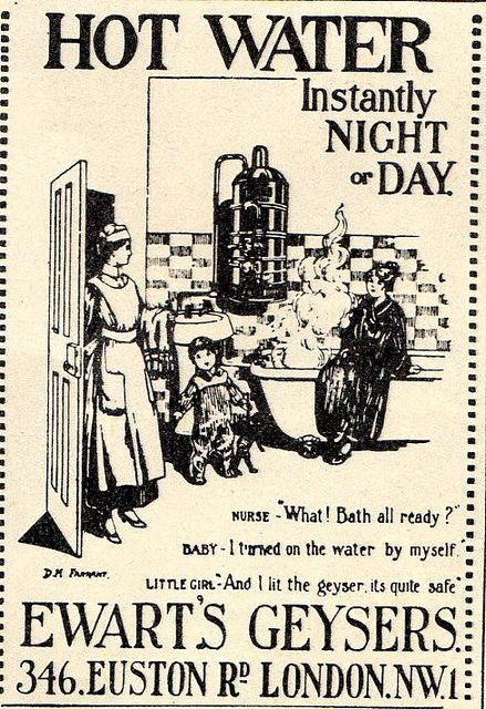 Vintage Advertisement Hot Water Day & Night