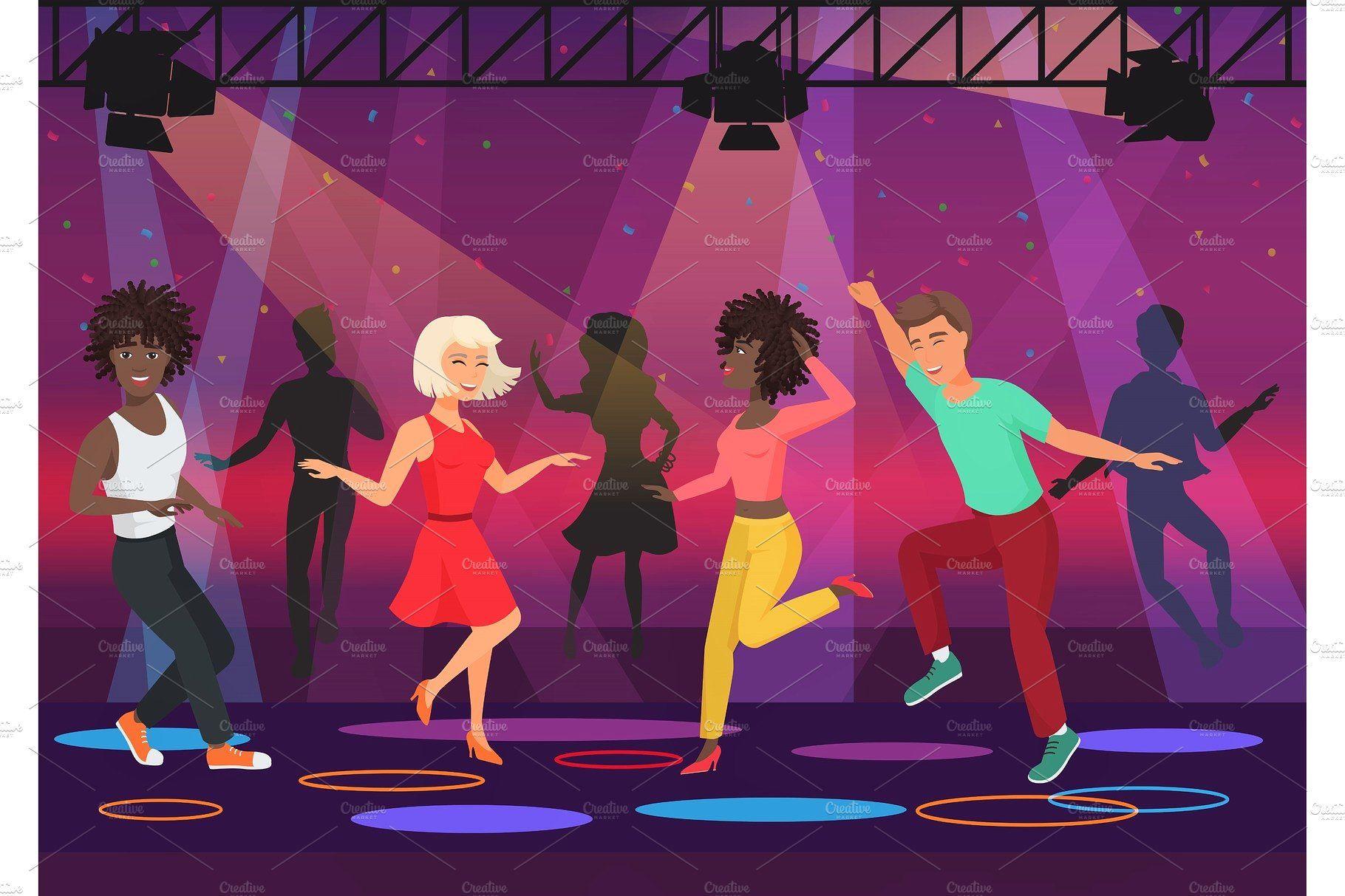 People Dancing In Disco Club Club, Party, Disco, Vector -7406