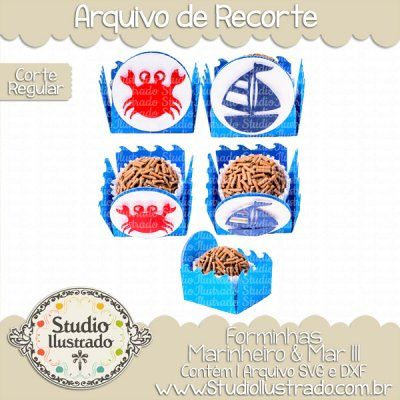 Sea Sailor Treat Holder III, Forminhas Marinheiro & Mar III, Caranguejo, Siri, Barco, Sailboat, Navio, Ship, Barco a Vela, Chocolate, Festa, Party, Bombom, Bonbon, Sweet, Candy, Doce, Baby, Bebê, Recém-nascido, Newborn, Corte Regular, Regular Cut, Silhouette, DXF, SVG, PNG