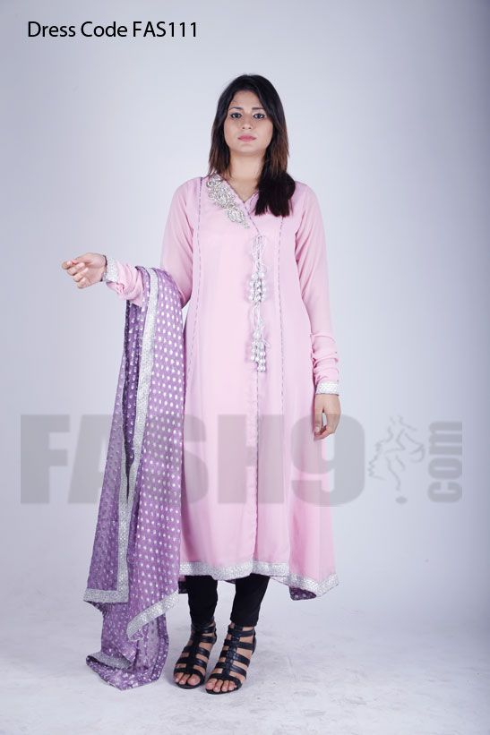 Dress Code: FAS111 Pink Angarkha Style Embrodieried Party wear dress ...