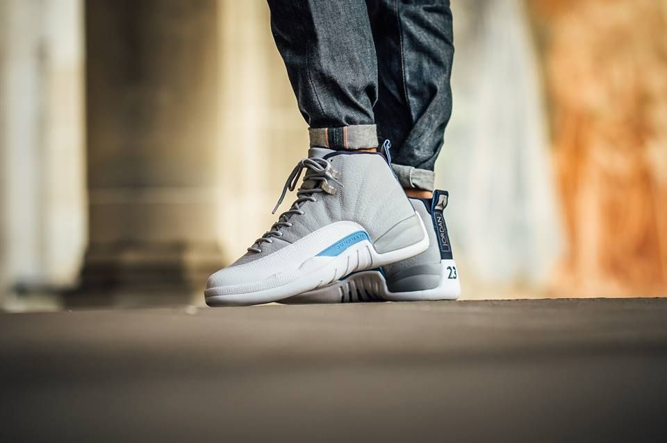 c6c615d2028 Image result for air jordan 12 grey university blue on feet ...