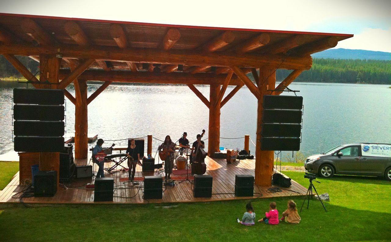 outdoor concert with flat panel speakers
