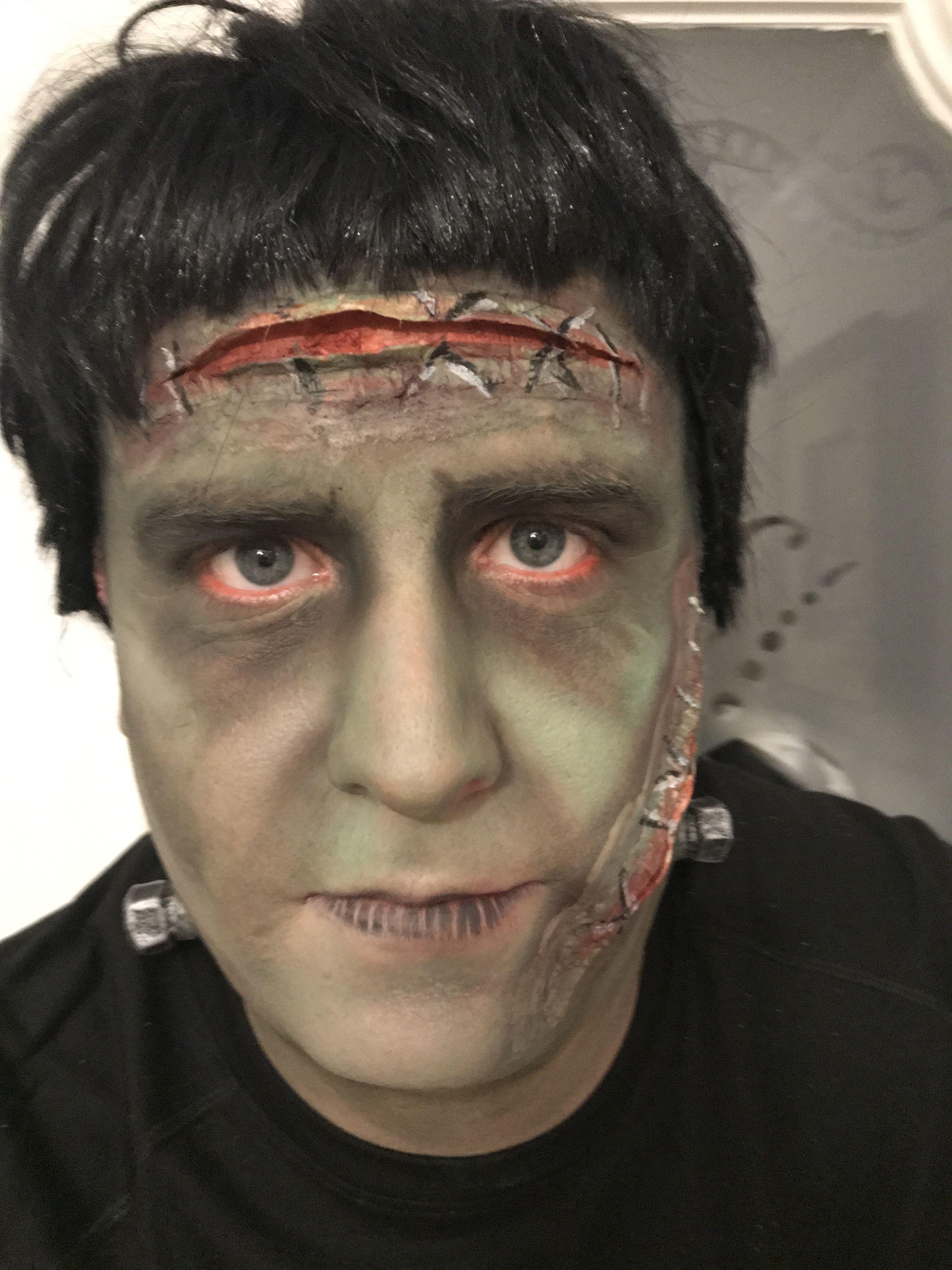 Men's Frankenstein makeup. Halloween makeup Halloween