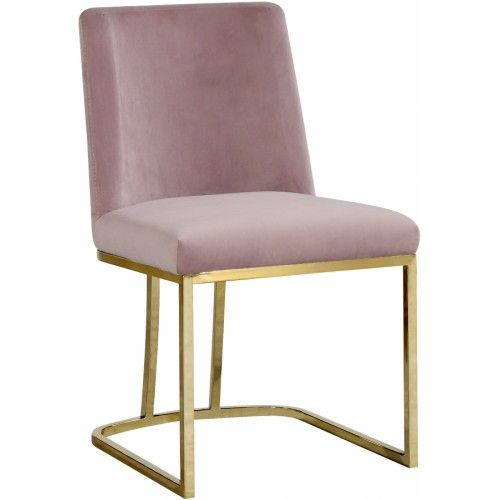 Best Blush Pink Velvet Accent Curved Dining Chair Set Of 2 400 x 300