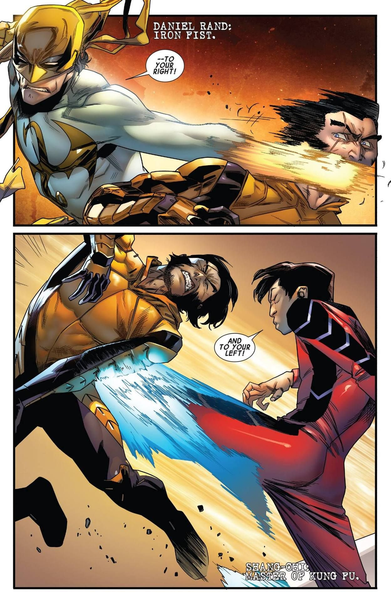 Iron Fist & Shang-Chi beatin' Logan (from Wolverine #8) by Kris ...