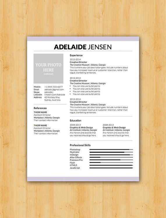 adelaide resume and cover letter template