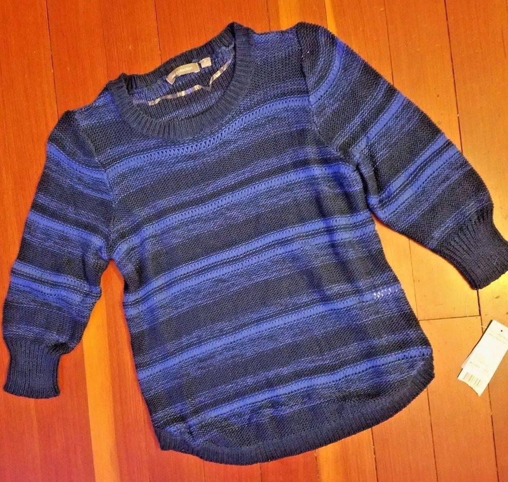 MEDIUM NY Collection Juniors Womens Cotton Tunic Sweater Blue Navy ...