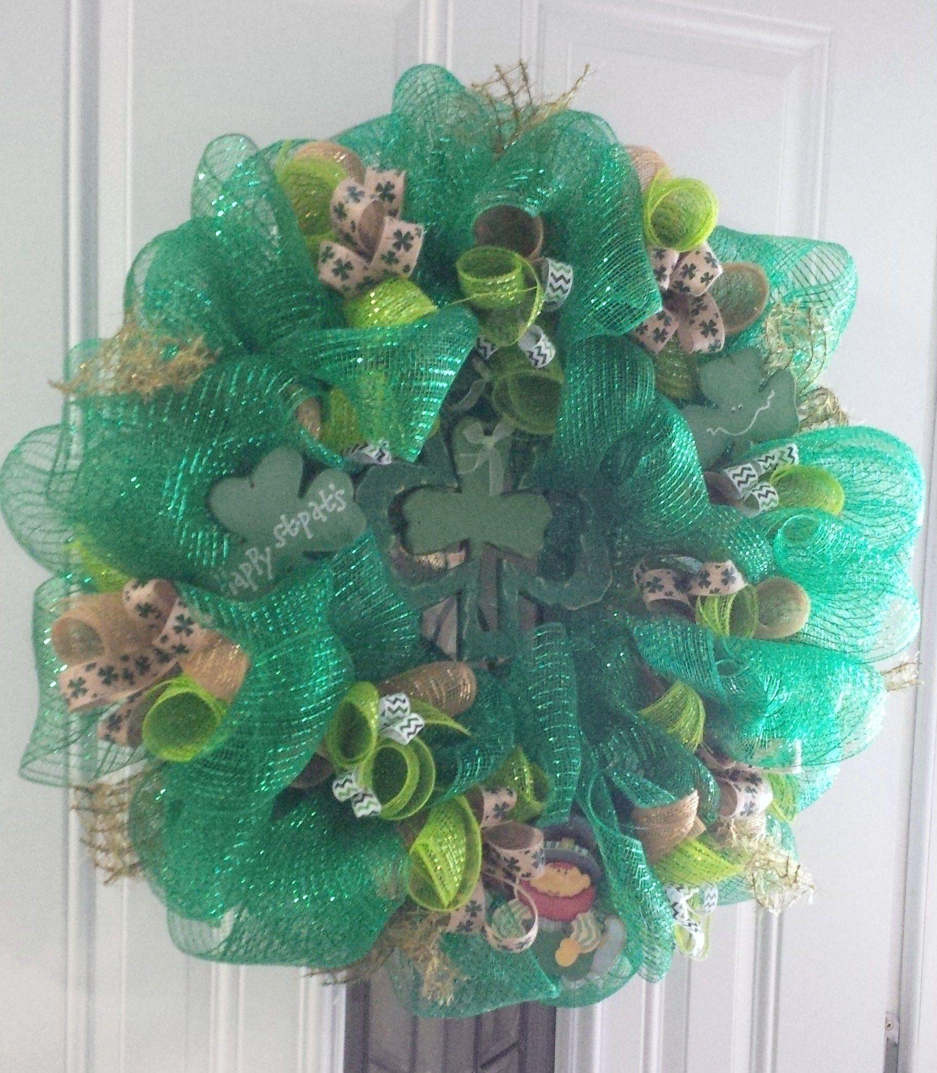 St. Patrick's Day wreath Irish wreath, Deco mesh wreaths