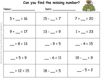 find the missing number practice page classroom 2nd grade math numbers math centers. Black Bedroom Furniture Sets. Home Design Ideas
