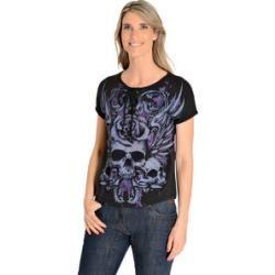 Photo of Lethal Angel Rose Schädel Damen T-Shirt schwarz Xllouis.de