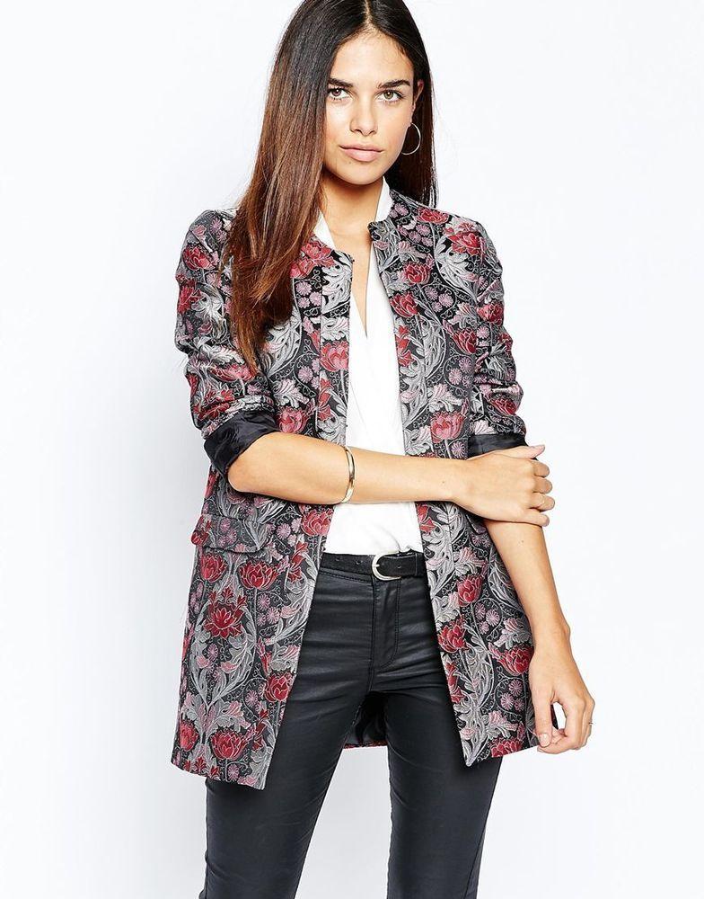 BNWT Warehouse At ASOS Jaquard Floral Tapestry Longline Jacket UK 8 RRP £95