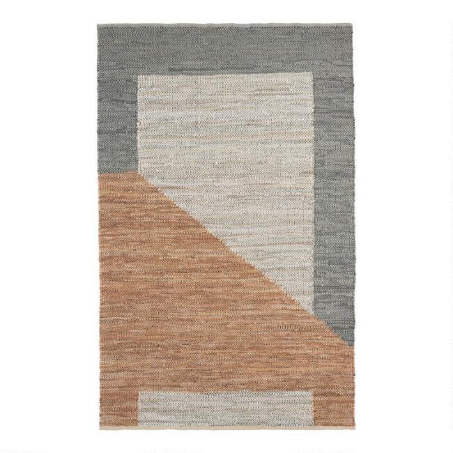 Gray And Tan Leather Geometric Bleecker Area Rug V1 In 2020 Area Rugs Rugs Leather Rug #tan #living #room #rug
