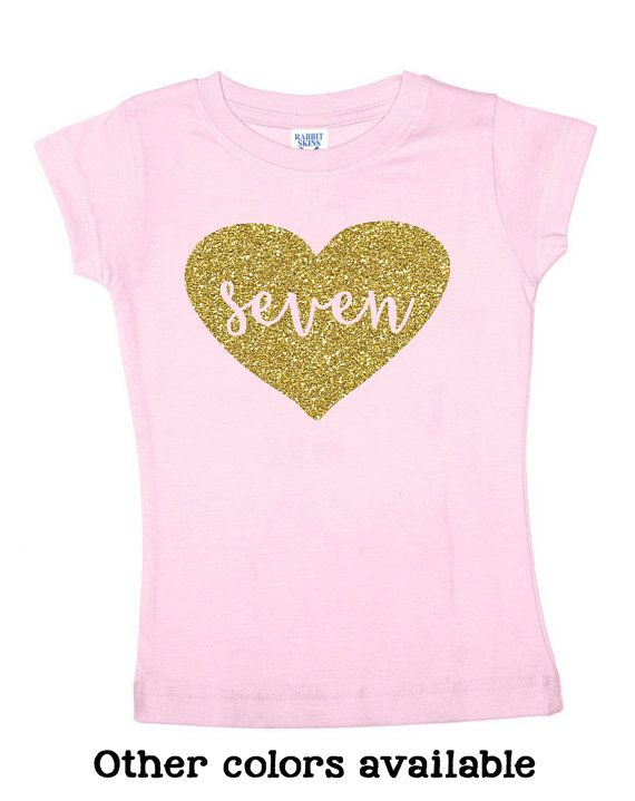 Seven Glitter Shirt 7 Year Old Birthday 4 Color