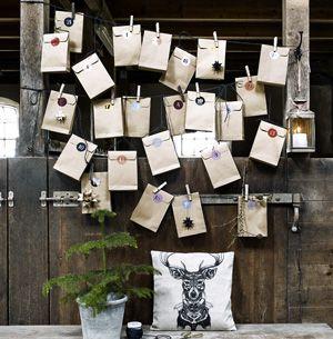 Calendrier de l'Avent 24 pochettes en papier kraft Nordal ...