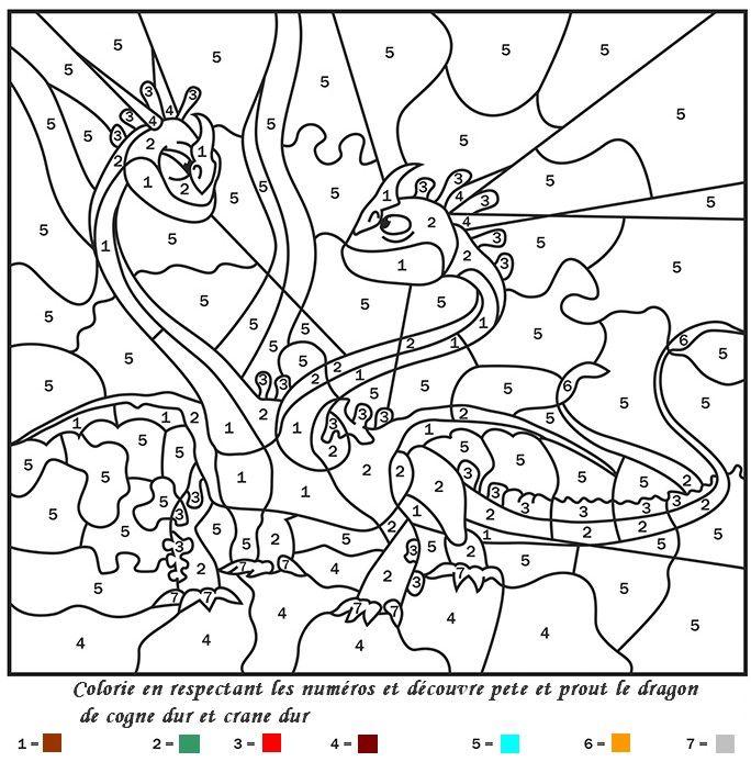 Coloriage Code Dinosaure.Coloriage Coloriage Magique Pete Et Prout Dragons 2