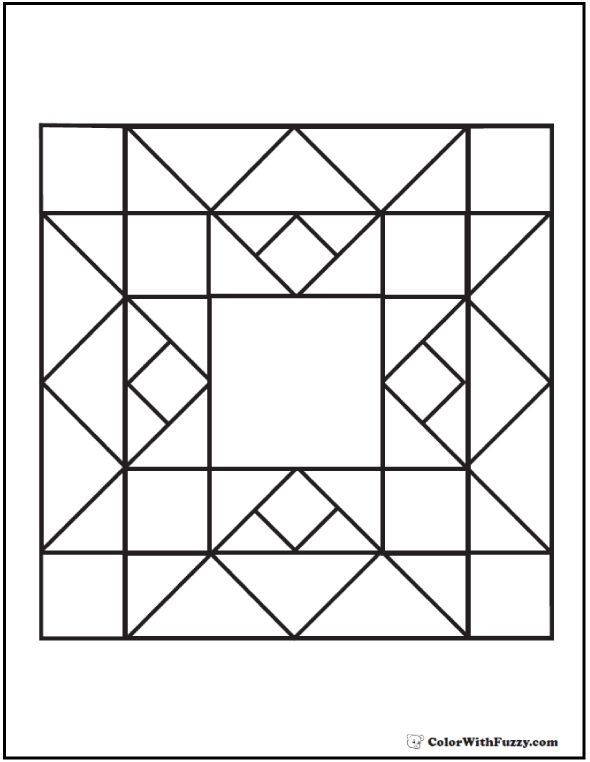 Coloring Pages Quilt Blocks 70 Geometric Coloring Pages To Print And Customize Png 590 762 Barn Quilt Patterns Geometric Coloring Pages Wall Quilt Patterns