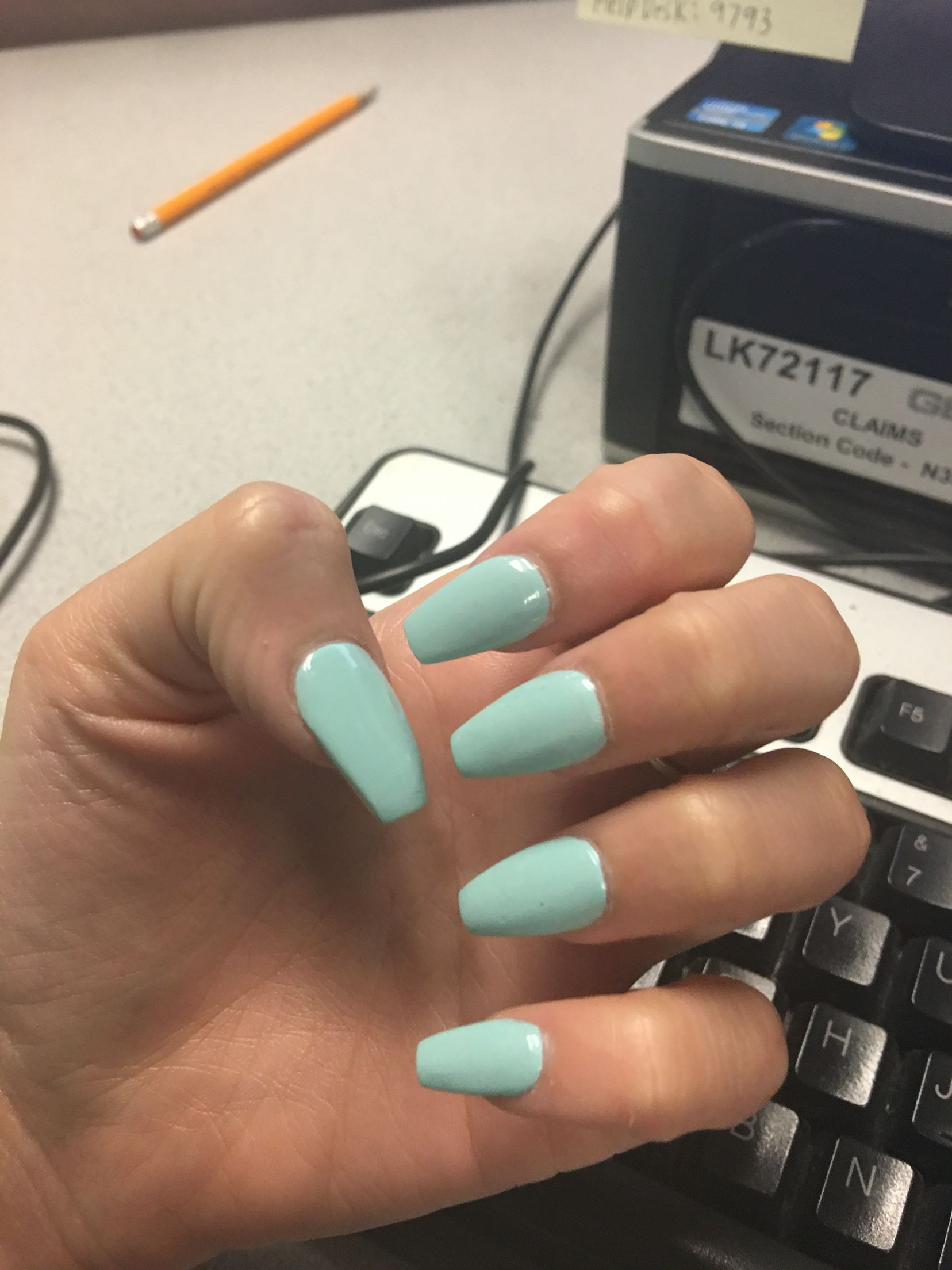 Light Blue Coffin Acrylic Nails Medium Length Acrylic Nails Coffin Blue Acrylic Nails Fall Acrylic Nails