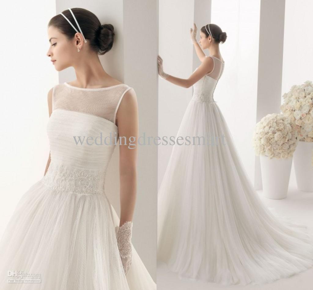 Wholesale sheer wedding dresses buy sheer bateau ball gown