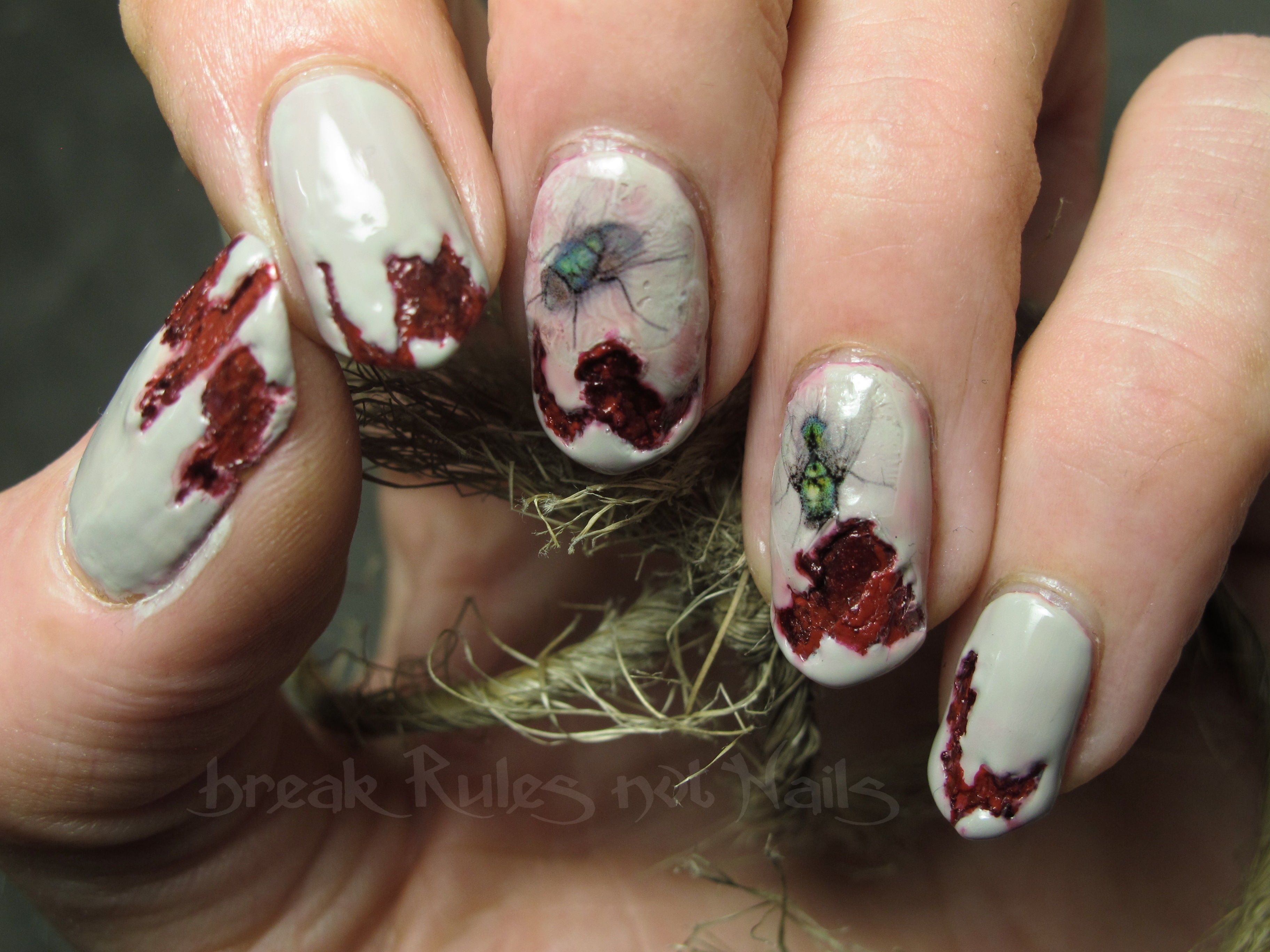 Zombie nails, rotting flesh and fly decals that I printed on ...