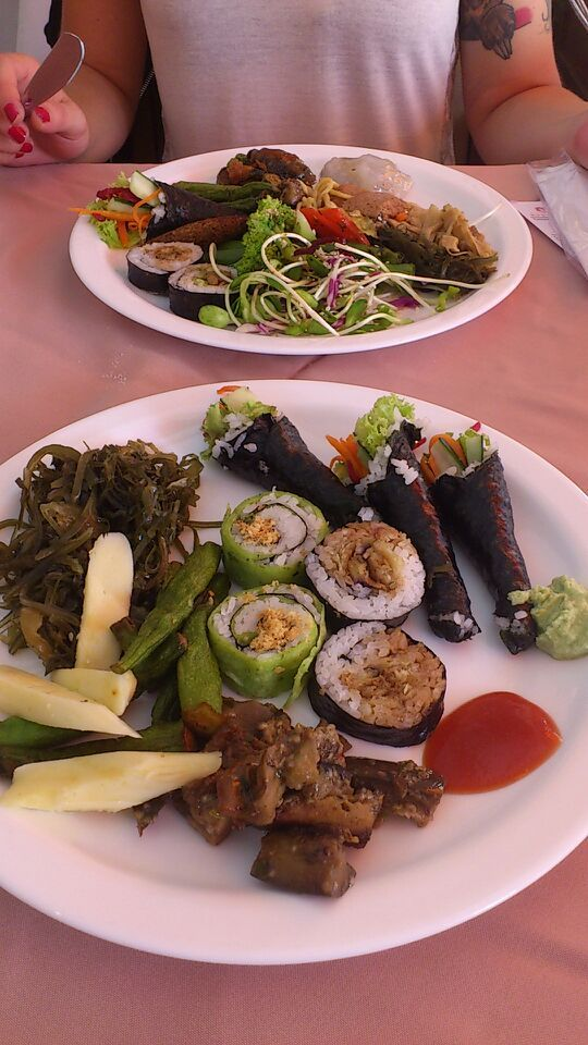 Vegetarian buffet with many vegan options at Lotus Restaurant, Sao Paulo, Brazil