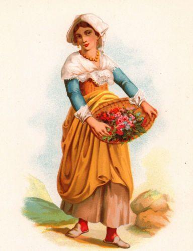 Bouquetière Milan Milano Italie Fleur Fleuriste Fiorista Flower Bloemist    Gravures Anciennes   Flowers et Milan 8e6e83edecc