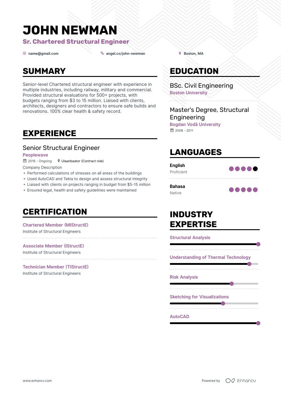 Structural Engineer Resume Ultimate Guide For 2019 6 Examples Structural Engineering Resume Examples Engineering Resume