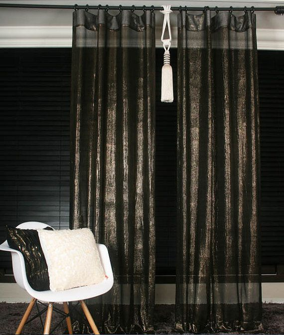 Handmade Black Mesh With Gold Shining Curtains By Fashionplayer, $104.00