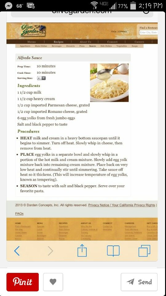 Pin By Monica Molina On Recipes Olive Garden Recipes Recipes Olive Garden Alfredo Sauce