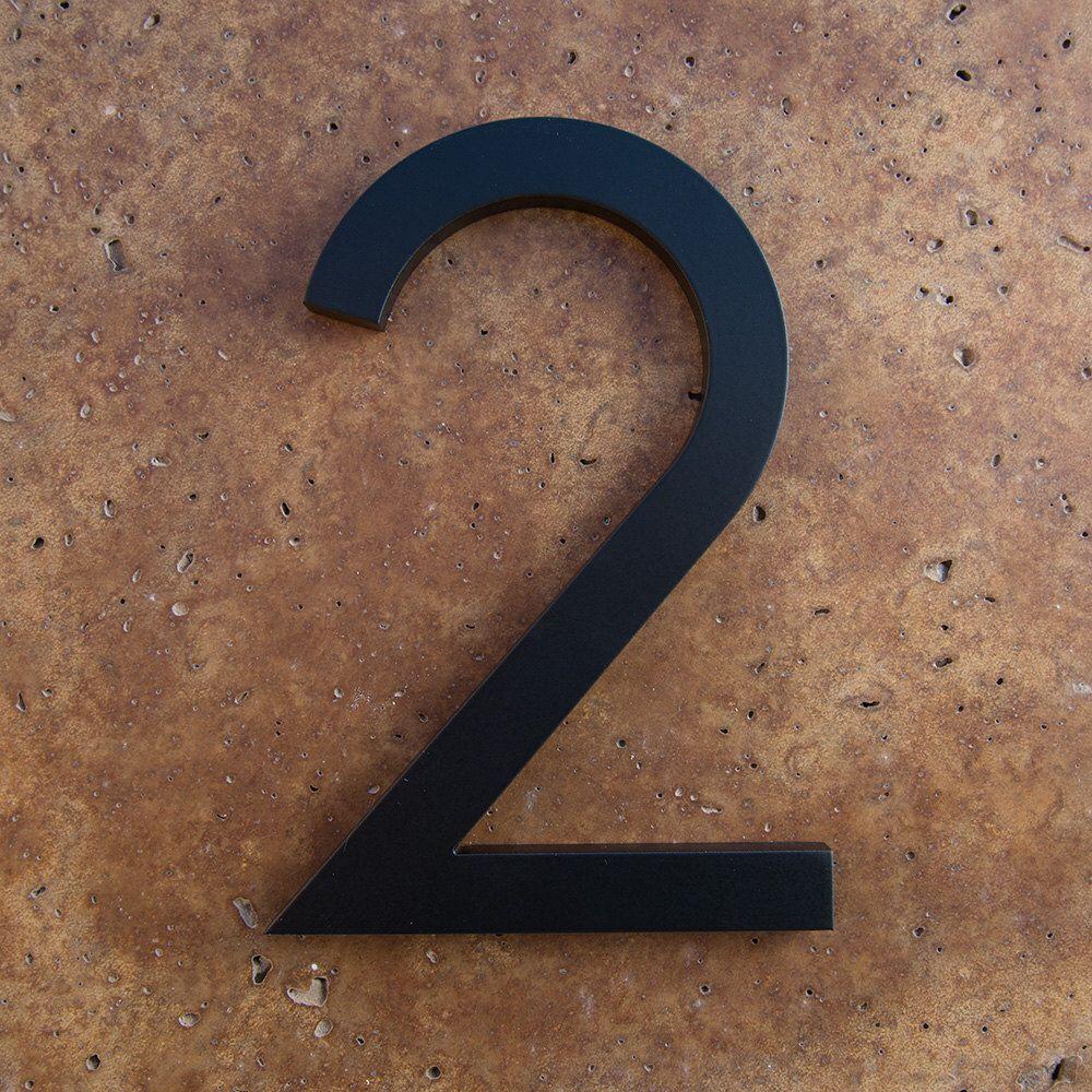 Modern house number aluminum modern font number two 2 in black