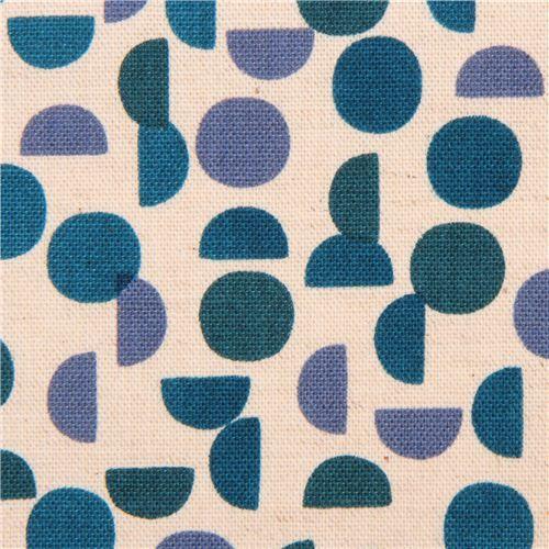 Blauer Kreis Halbkreis Muster Geo Canvas Stoff Monochrome Kokka Japan Fabric Canvas Fabric Pattern