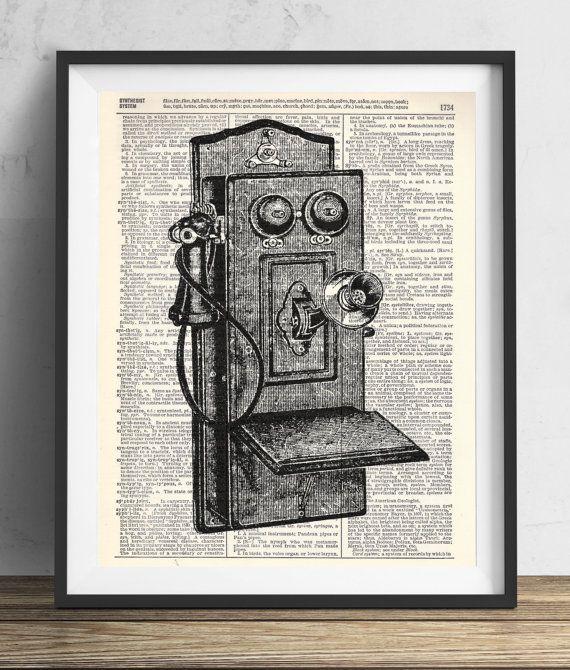 Vintage Telephone 1 Upcycled Dictionary Art Print by RetroBookArt